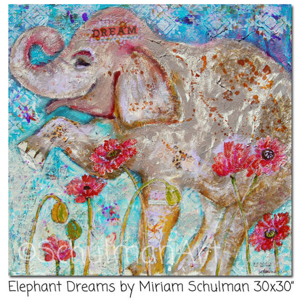 Elephant Dreams, Original Mixed Media Art