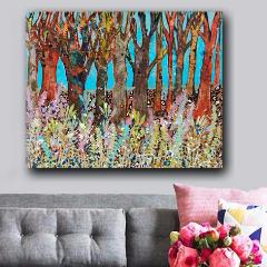 Funky Forest, Original Mixed Media Art 24x30""