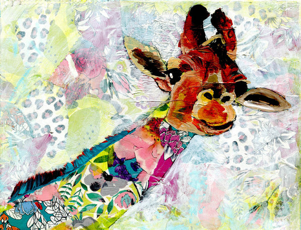 "Giraffe, Original Mixed Media Collage Art on gallery wrapped canvas 11x14"" ""Vulnerability"""
