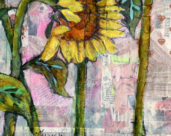 Pink Sunflower Sunset, Original Mixed Media Art 20x20""