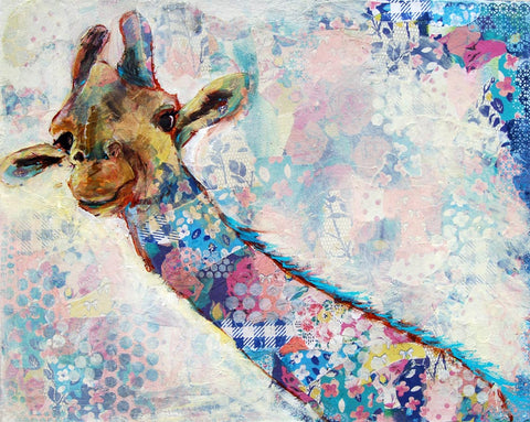 Ginny the Giraffe, Original Mixed Media Art 24x30""