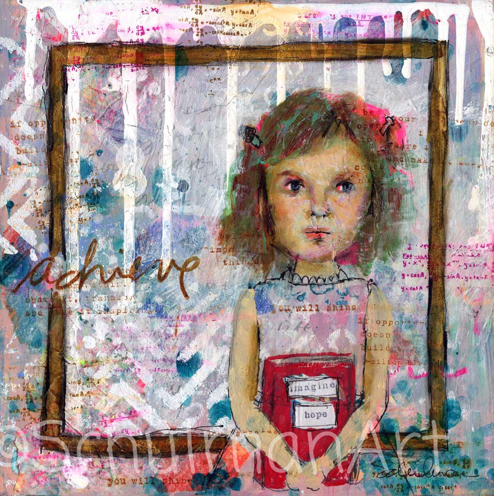 Hope Becomes Faith, Original Mixed Media Art 10x10""