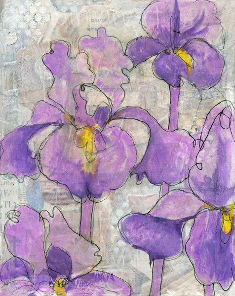#05 Irises canvas | Original Mixed Media Art on Canvas