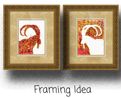 Israeli Ibex Set, Original Abstract Art | Goat Art | Animal Art