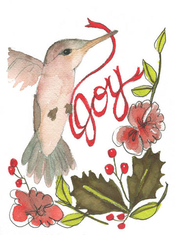 """Joyful Hummingbird"", Original Watercolor Art 