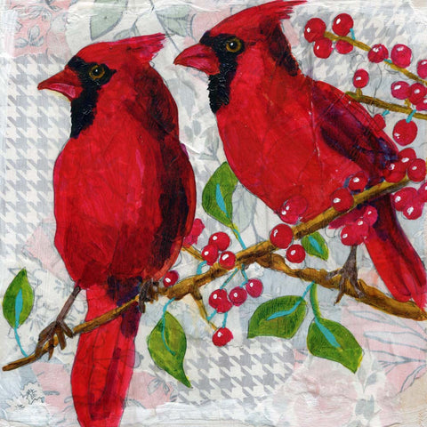 Cardinal Cousins | red bird art | Original Mixed Media Art on Canvas