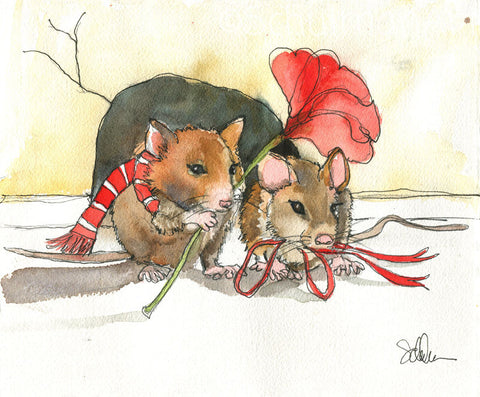 #21 Married Mice on date night | Original Watercolor Art