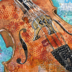 Cello Charm, Original Mixed Media Art
