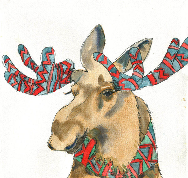 Moose in Mittens, Fine Art Print | Moose Art | Moose Painting | Wildlife Animal Art