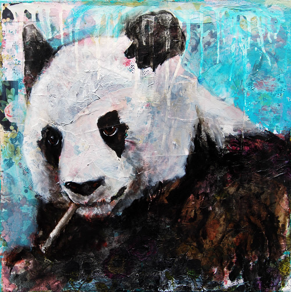Panda-monium, Original Mixed Media Art 20x20""