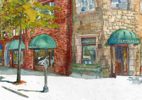 Landscape Painting of Parkway Cafe in Scarsdale Village, Fine Art Print