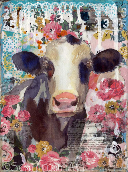 Rosie the Cow, Original Mixed Media Art