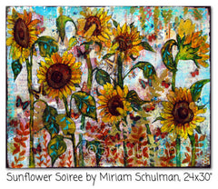 Sunflower Soiree, Original Mixed Media Art