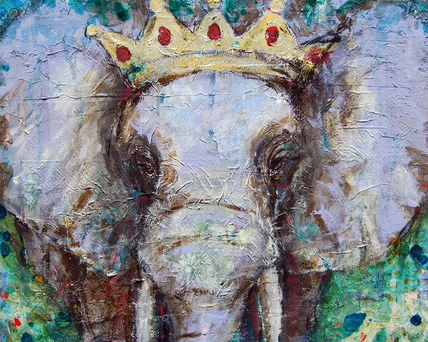 Elephant King, Original Mixed Media Art 16x20""