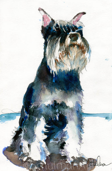 Schulman Schnauzer, Original Watercolor Art