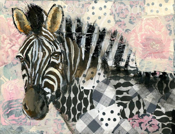 Zebra - Born to Be Wild, Original Mixed Media Art 11x14""
