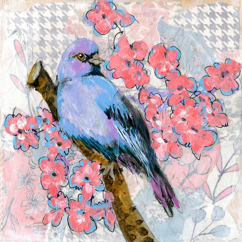 Blue Bird of Happiness, Original Mixed Media Art