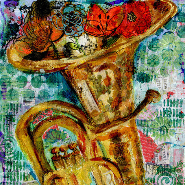 Tuba Time, Original Mixed Media Art