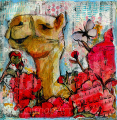 Original Mixed Media Camel Art