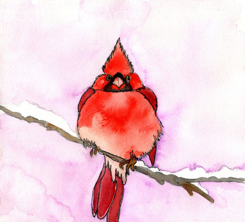 Visitor from Heaven, Fine Art Print | Bird Art | Red Cardinal Art | Animal Art
