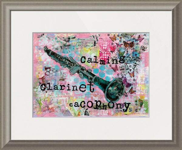 Calming Clarinet Cacophony, Original Mixed Media Art