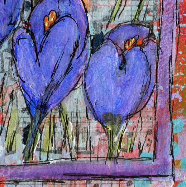 Spikes of Crocus, Original Mixed Media Art 10x10""
