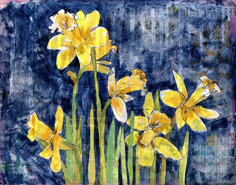 Daffodil Garden, Original Mixed Media Art