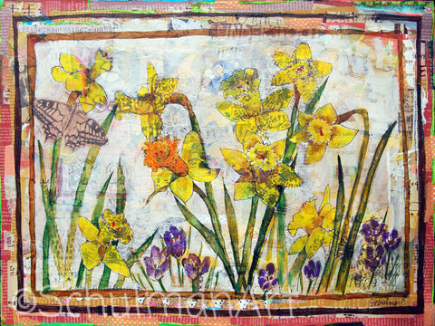 Dante's Daffodils, Original Mixed Media Art