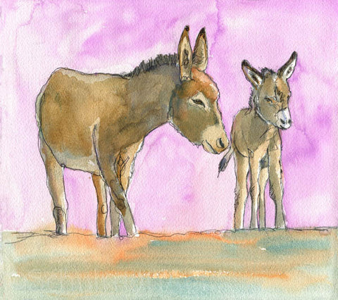 Donkeys in the Promised Land, Fine Art Print | Donkey Art | Donkey Painting | Farm Animal Art