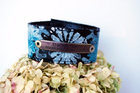 """The Journey Awakens the Soul"" Leather Cuff"