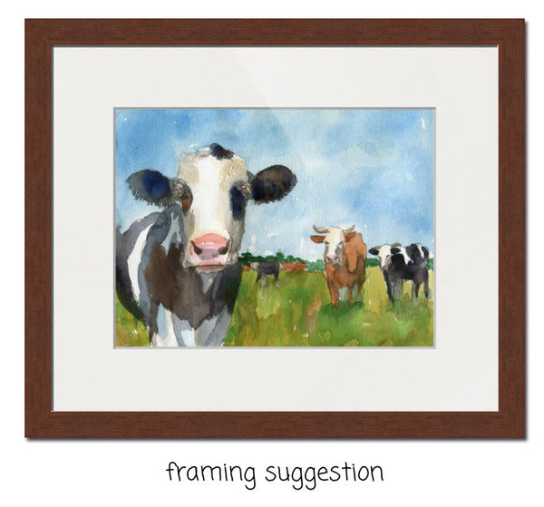 Cow Clique, Original Watercolor Art