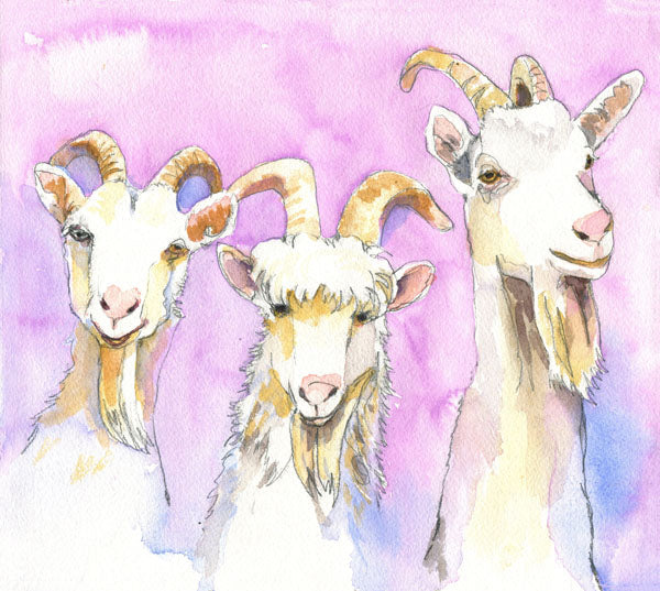 Three Billy Goats Gruff, Fine Art Print | Goat Art | Goat Painting | Farm Animal Art