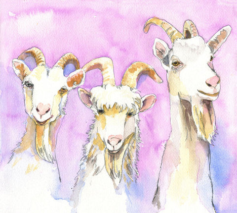 """Three Billy Goats Gruff"", Original Watercolor Art 