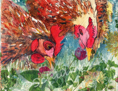 Hen Pecked, Original Mixed Media Art