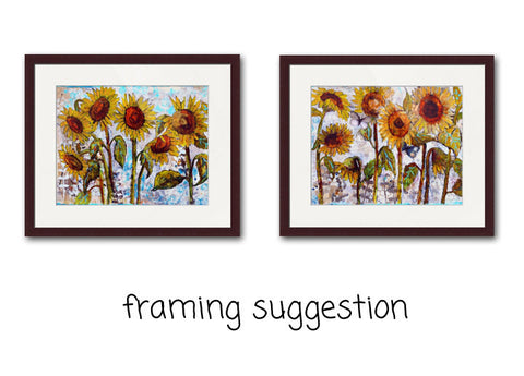 Set of Two Sultry Sunflower Prints