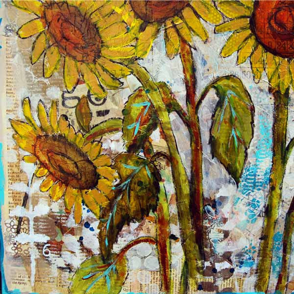 Sultry Sunflowers, Original Mixed Media Art