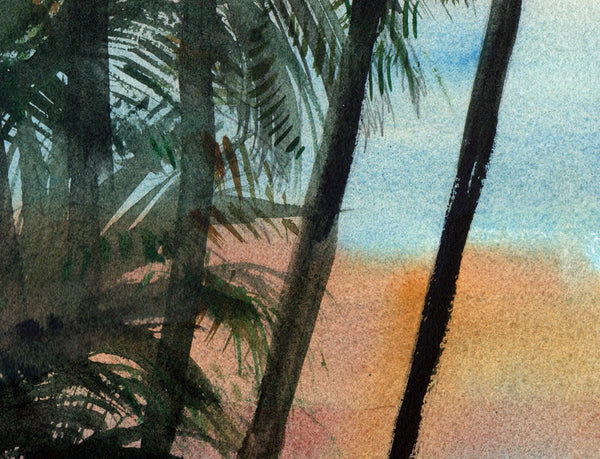Sunset and Palm Trees, Original Watercolor Art