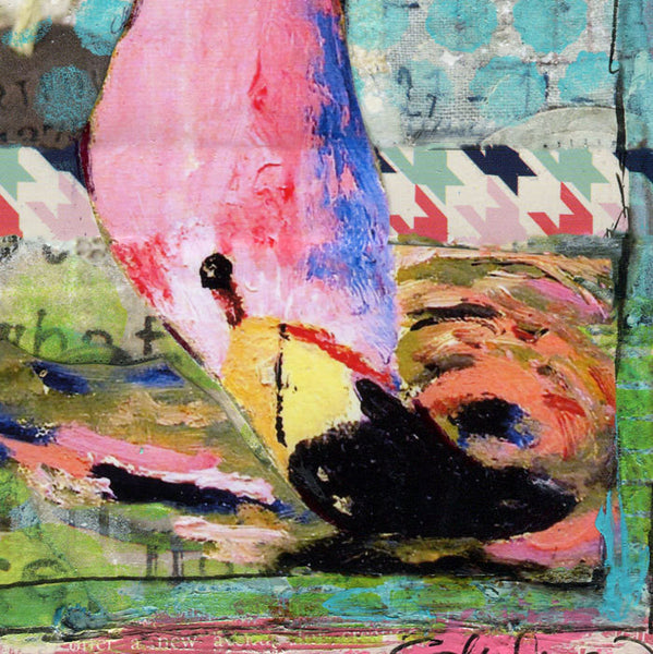 Playful Flamingo, Original Mixed Media Art