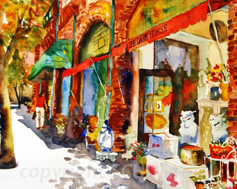 Dark Horse in Scarsdale Village, Fine Art Print