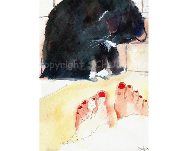 Ebony's Bubble Bath, Original Watercolor Art