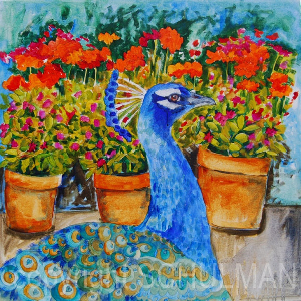 Potted Peacock, Original Acrylic Art