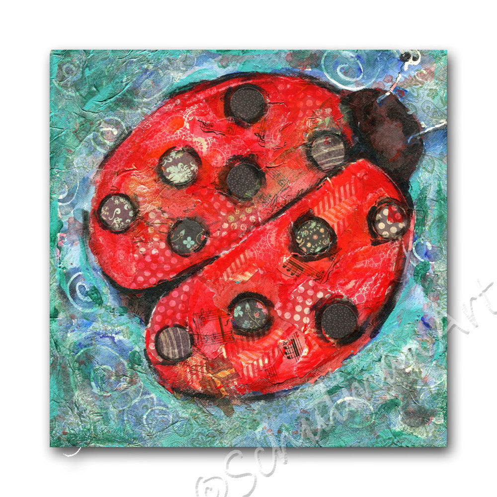 First Lady Bug, Original Mixed Media