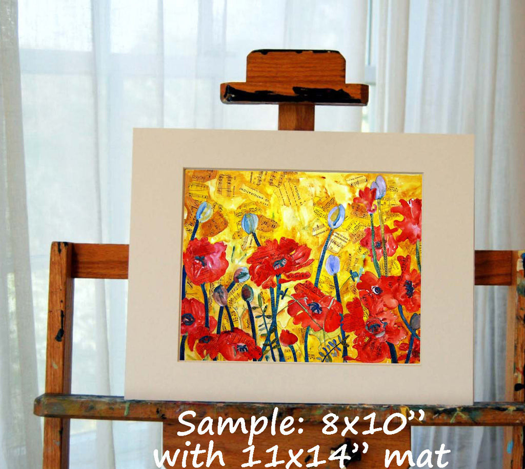 floral PRINT, red poppies, flower painting, floral art, poppy ...