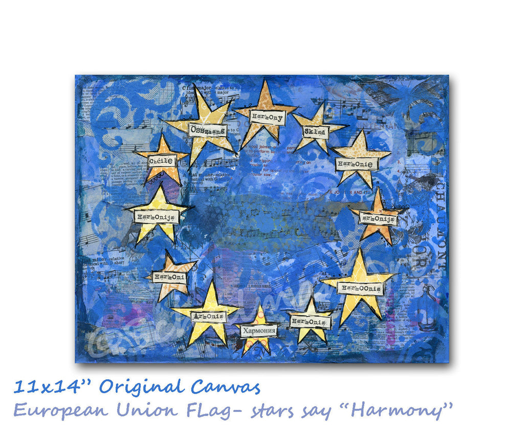 Harmony Flag, Original Mixed Media Art