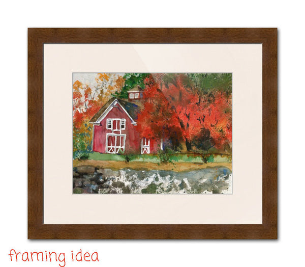 Autumnal Barn, Original Watercolor Art