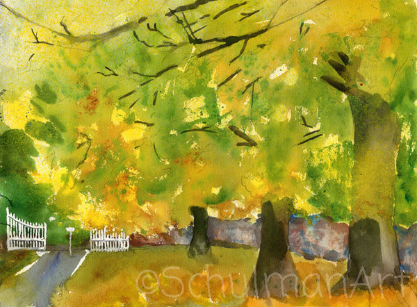 Misty Yellow Fall, Original Watercolor Art