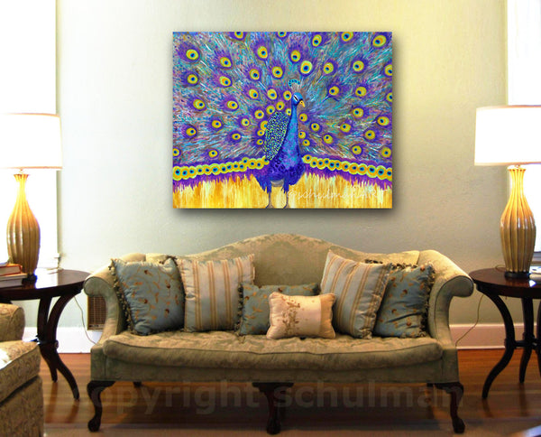 Peacock Perfection, Original Acrylic Art