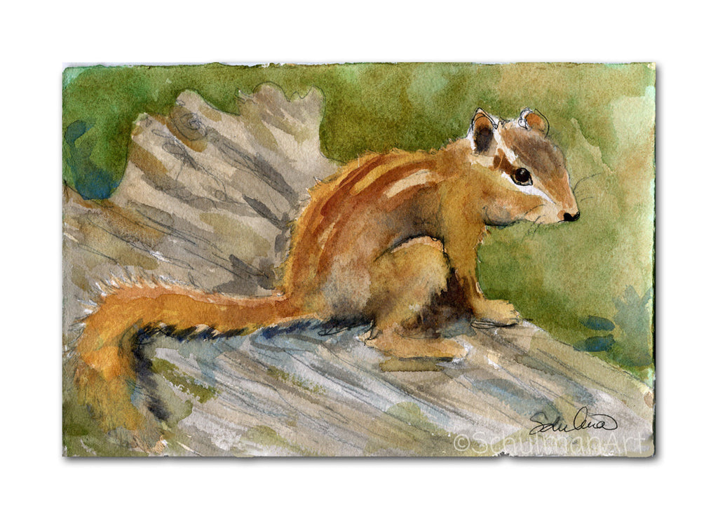 Chipmunk Chap, Original Watercolor Art