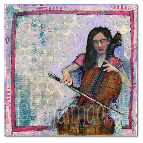 Playing Bach, Original Mixed Media Art