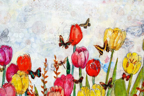 Tulip Travels, LARGE Original Mixed Media Art on canvas